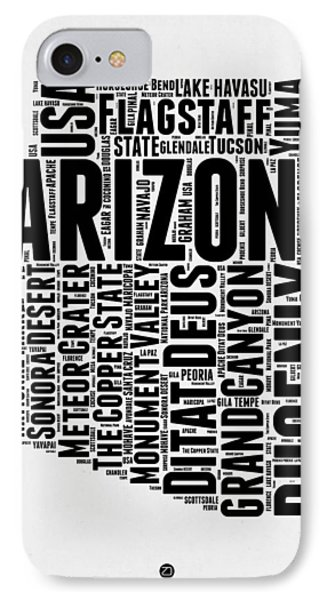 Arizona Word Cloud Map 2 IPhone Case by Naxart Studio