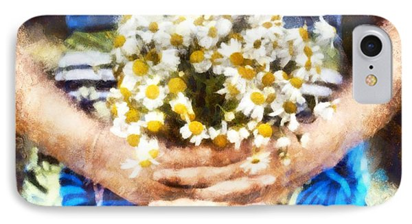 Art Illustration. Watercolor Painting. Beautiful Wedding Bouquet Of Flowers Chamomile In Hands Of Ya IPhone Case by Andrew Stepovoy