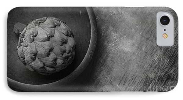Artichoke Black And White Still Life Three IPhone Case by Edward Fielding