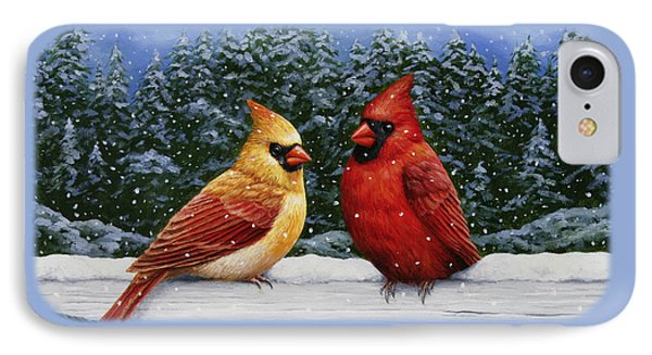 Bird Painting - Christmas Cardinals Phone Case by Crista Forest