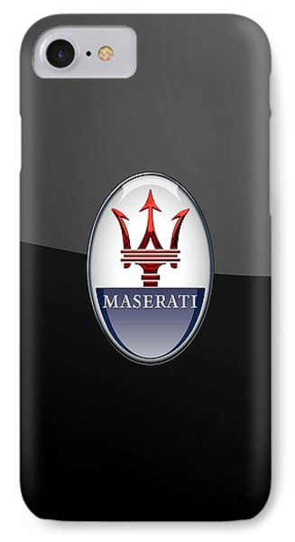Maserati - 3d Badge On Black IPhone Case by Serge Averbukh