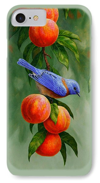 Bluebird And Peaches Greeting Card 1 IPhone 7 Case by Crista Forest