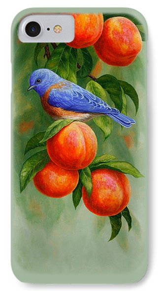 Bluebird And Peaches Greeting Card 2 IPhone 7 Case by Crista Forest