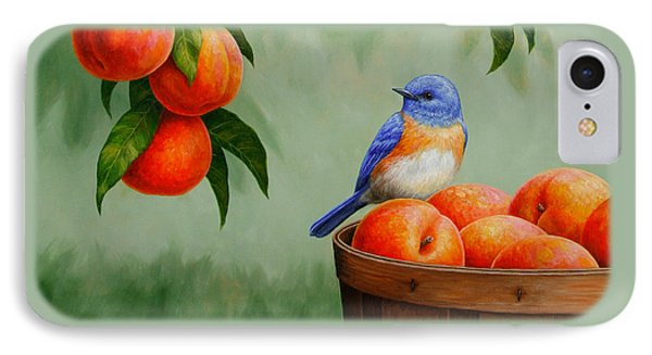 Bluebird And Peaches Greeting Card 3 IPhone 7 Case by Crista Forest