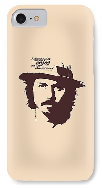 Johnny Depp Minimalist Poster IPhone 7 Case by Lab No 4 - The Quotography Department