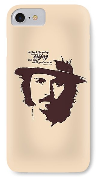 Johnny Depp Minimalist Poster IPhone Case by Lab No 4 - The Quotography Department