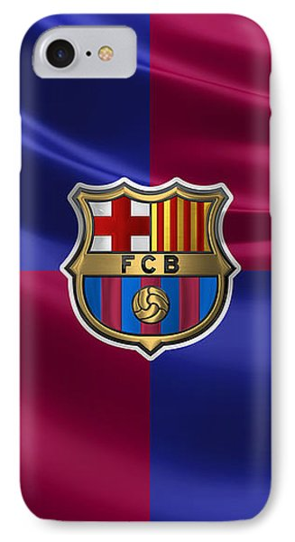 Fc Barcelona - 3d Badge Over Flag IPhone Case by Serge Averbukh