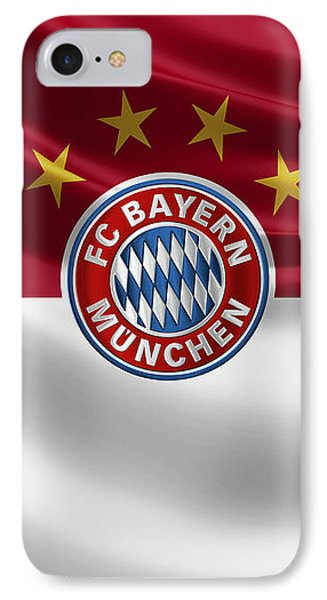 F C Bayern Munich - 3 D Badge Over Flag IPhone Case by Serge Averbukh