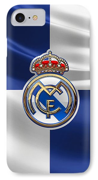 Real Madrid C F - 3 D Badge Over Flag IPhone Case by Serge Averbukh