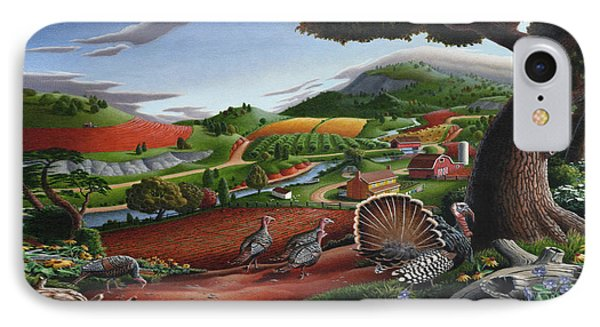 Wild Turkeys Appalachian Thanksgiving Landscape - Childhood Memories - Country Life - Americana IPhone 7 Case by Walt Curlee