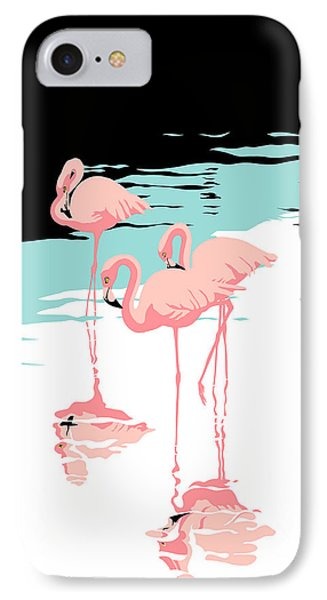 Pink Flamingos Tropical 1980s Abstract Pop Art Nouveau Graphic Art Retro Stylized Florida Print IPhone Case by Walt Curlee