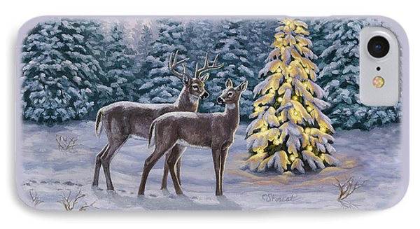 Whitetail Christmas IPhone Case by Crista Forest
