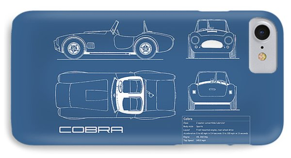 Ac Cobra Blueprint IPhone Case by Mark Rogan