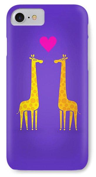 Cute Cartoon Giraffe Couple In Love Purple Edition IPhone 7 Case by Philipp Rietz