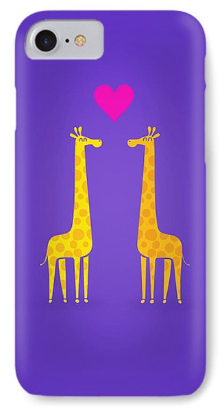 Cute Cartoon Giraffe Couple In Love Purple Edition IPhone Case by Philipp Rietz