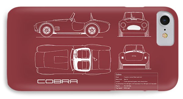 Ac Cobra Blueprint - Red IPhone 7 Case by Mark Rogan