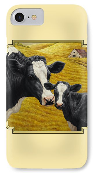 Holstein Cow And Calf Farm IPhone Case by Crista Forest