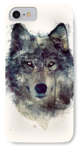 Wolf // Persevere IPhone Case by Amy Hamilton