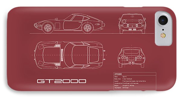 Toyota Gt2000 Blueprint Red IPhone Case by Mark Rogan
