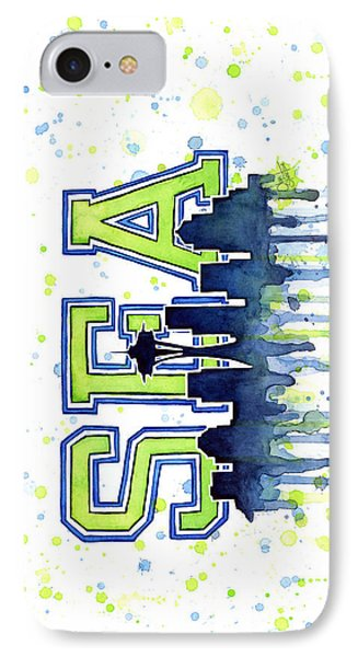 Seattle Watercolor 12th Man Art Painting Space Needle Go Seahawks IPhone Case by Olga Shvartsur