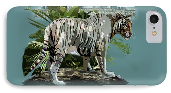White Tiger And The Taj Mahal Image Of Beauty IPhone Case by Regina Femrite