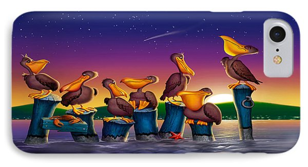 Pelican Sunset Whimsical Cartoon Tropical Birds Seascape Print Blue Orange Purple Yellow IPhone Case by Walt Curlee