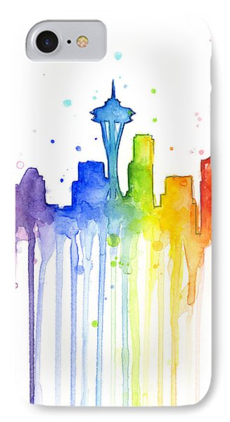 Seattle Rainbow Watercolor IPhone Case by Olga Shvartsur