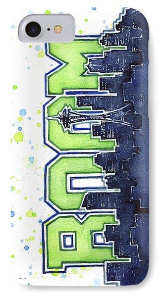 Seattle 12th Man Legion Of Boom Painting IPhone Case by Olga Shvartsur