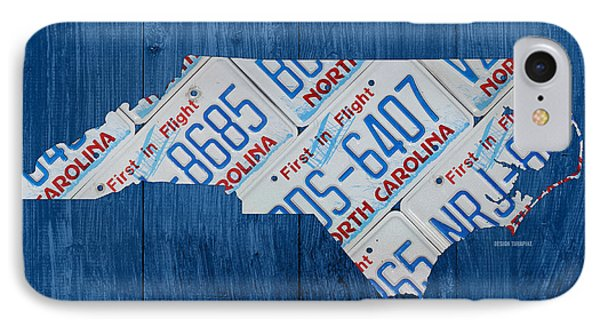 North Carolina Vintage Recycled License Plate Map On Blue Wood Plank Background IPhone Case by Design Turnpike