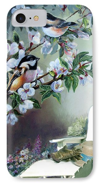 Chickadees In Blossom Tree IPhone 7 Case by Regina Femrite