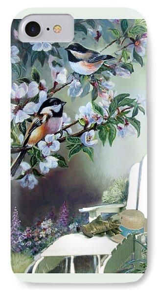 Chickadees In Blossom Tree IPhone Case by Regina Femrite