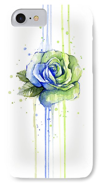 Seattle 12th Man Seahawks Watercolor Rose IPhone Case by Olga Shvartsur