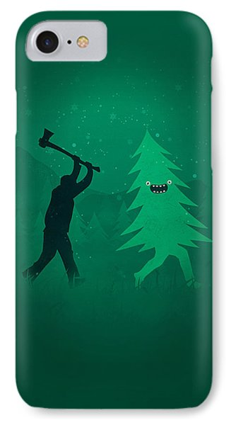 Funny Cartoon Christmas Tree Is Chased By Lumberjack Run Forrest Run IPhone Case by Philipp Rietz