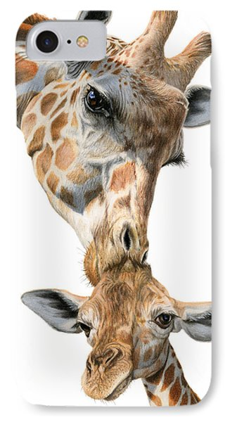 Mother And Baby Giraffe IPhone Case by Sarah Batalka