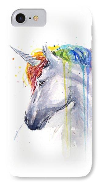 Unicorn Rainbow Watercolor IPhone Case by Olga Shvartsur