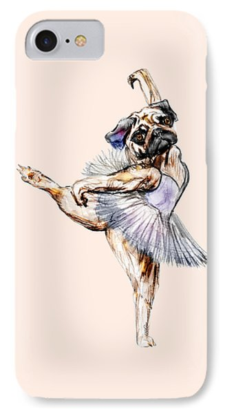 Pug Ballerina Dog IPhone Case by Notsniw Art