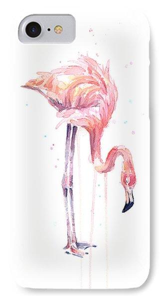 Flamingo Painting Watercolor IPhone 7 Case by Olga Shvartsur