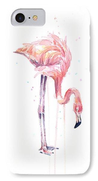 Flamingo Painting Watercolor IPhone Case by Olga Shvartsur