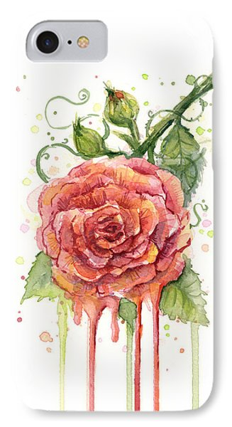 Red Rose Dripping Watercolor  IPhone 7 Case by Olga Shvartsur