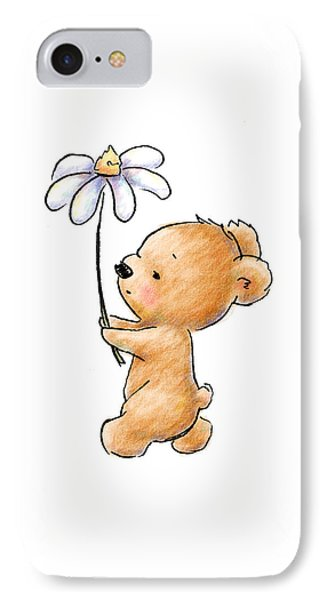 Baby Bear With Flower IPhone Case by Anna Abramska
