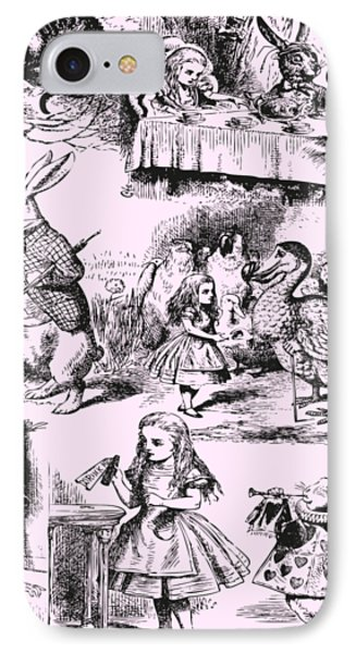 Alice In Wonderland Toile De Jouy IPhone Case by Eclectic at HeART