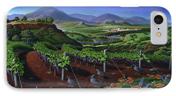 Quail Strolling Along Vineyard Wine Country Landscape - Vintage Americana IPhone Case by Walt Curlee