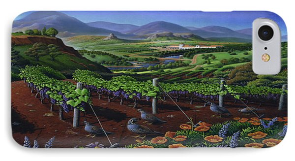 Quail Strolling Along Vineyard Wine Country Landscape - Square Format - Folk Art - Viticulture IPhone Case by Walt Curlee