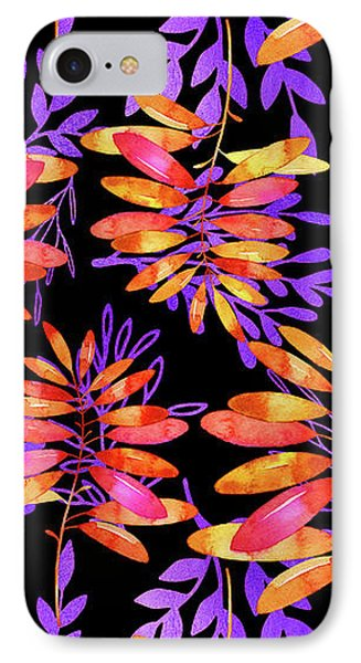 Psychedelic Fall, Vibrant Fall Leaves Nature Pattern IPhone Case by Tina Lavoie