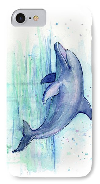 Dolphin Watercolor IPhone Case by Olga Shvartsur