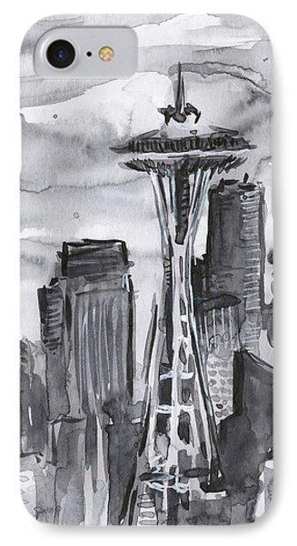 Seattle Skyline Space Needle IPhone Case by Olga Shvartsur