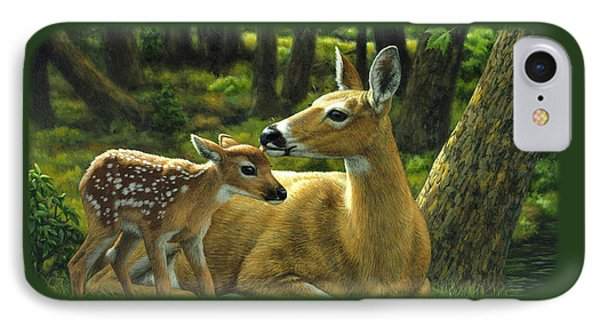 Whitetail Deer - First Spring IPhone Case by Crista Forest