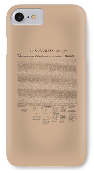 The Declaration Of Independence IPhone Case by War Is Hell Store