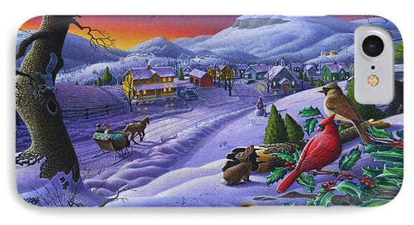 Christmas Sleigh Ride Winter Landscape Oil Painting - Cardinals Country Farm - Small Town Folk Art IPhone Case by Walt Curlee