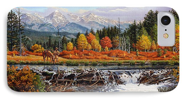 Western Mountain Landscape Autumn Mountain Man Trapper Beaver Dam Frontier Americana Oil Painting IPhone 7 Case by Walt Curlee